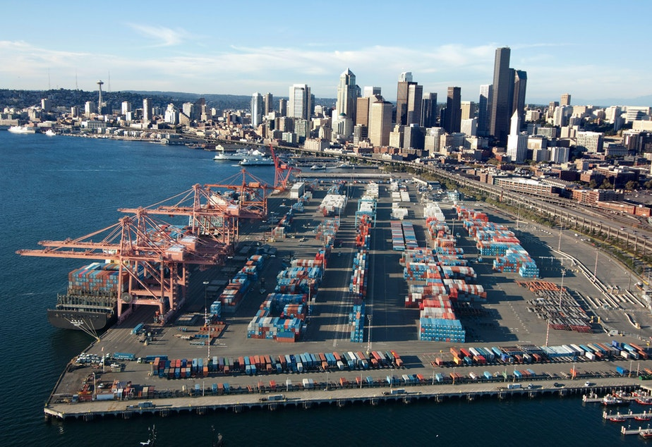 caption: The Port of Seattle'sTerminal 46 is the closest container terminal to downtown Seattle.