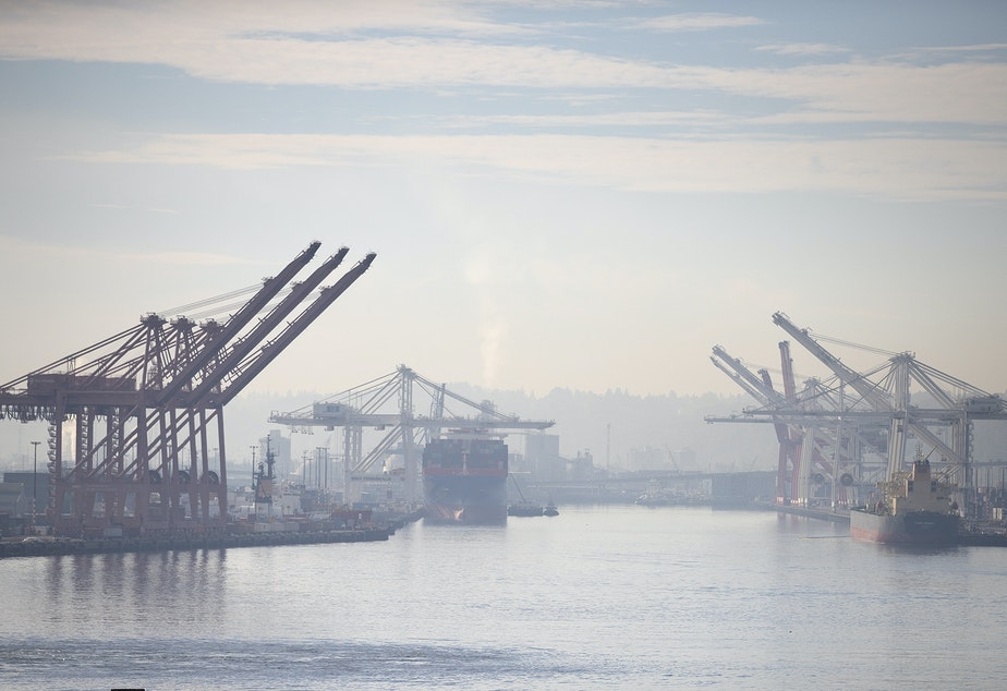 caption: The mouth of the Duwamish Waterway at the Port of Seattle on Oct. 18.
