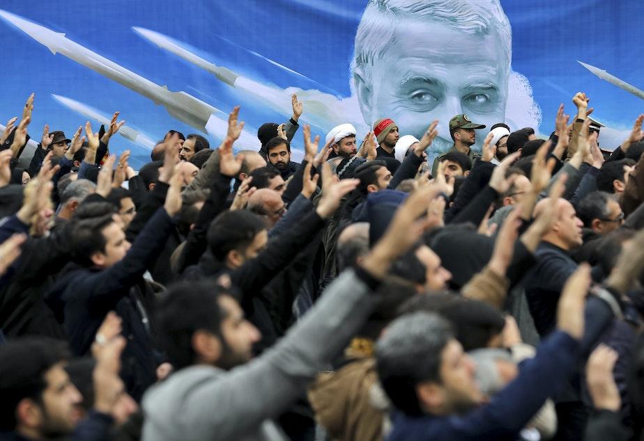 Protesters demonstrate over the U.S. killing in Iraq of Iranian Revolutionary Guard Maj. Gen. Qassem Soleimani in Tehran, Iran, on Jan. 4.
