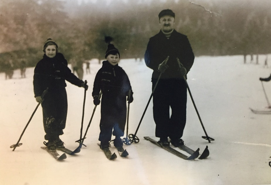 Werner as a child, on a ski trip in Germany with his father and older sister.