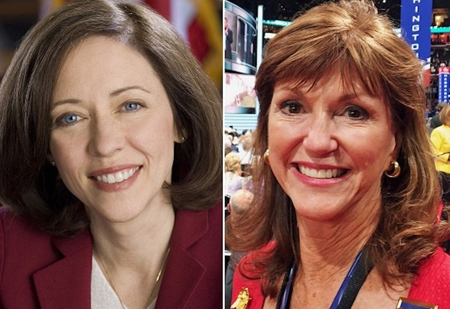 Sen. Maria Cantwell and challenger Susan Hutchison.