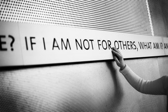 "A quote on the office building of Jewish Family Services reads, ""If I am not for myself who will be for me, if I am only for myself, what am I, and if not now, when?"""