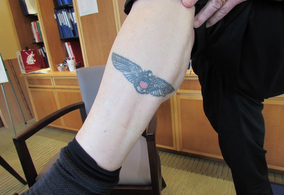 Frank Blethen, publisher of The Seattle Times, shows off his tattoo of the Times' eagle. He has pestered his son to get one too, to no avail.