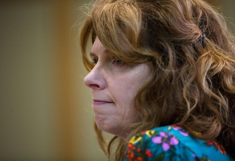 caption: Oregon State Rep. Christine Drazan, R-Canby, listens to testimony Tuesday, April 2, 2019. Drazan, who is House minority leader, has demanded that Democrats shelve any bills her members take issue with.