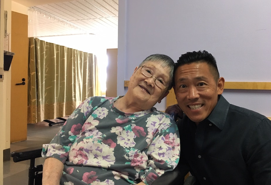 caption: Keith Akada has called more than 30 nursing homes and adult family homes looking for a place to care for his mother Mieko whose nursing home is closing.