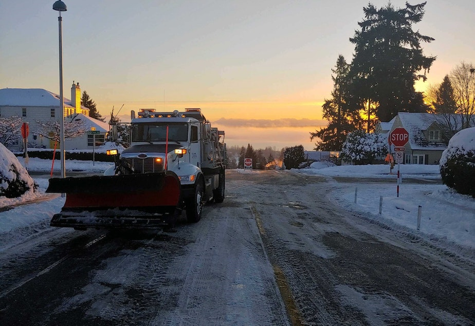caption: A Seattle Department of Transportation salt and plow truck on Monday morning.