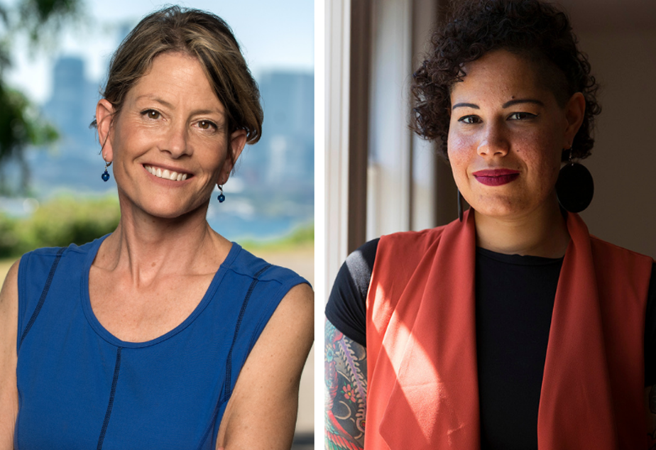 caption: Candidates Sara Nelson and Nikkita Oliver are running for Seattle City Council Position 9 in the November 2021 election.