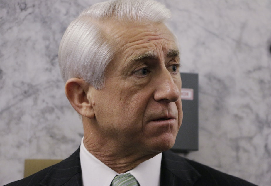 FILE: Rep. Dave Reichert, R-Wash., speaks with the media  on Friday, Nov. 20, 2015, in Olympia, Wash.
