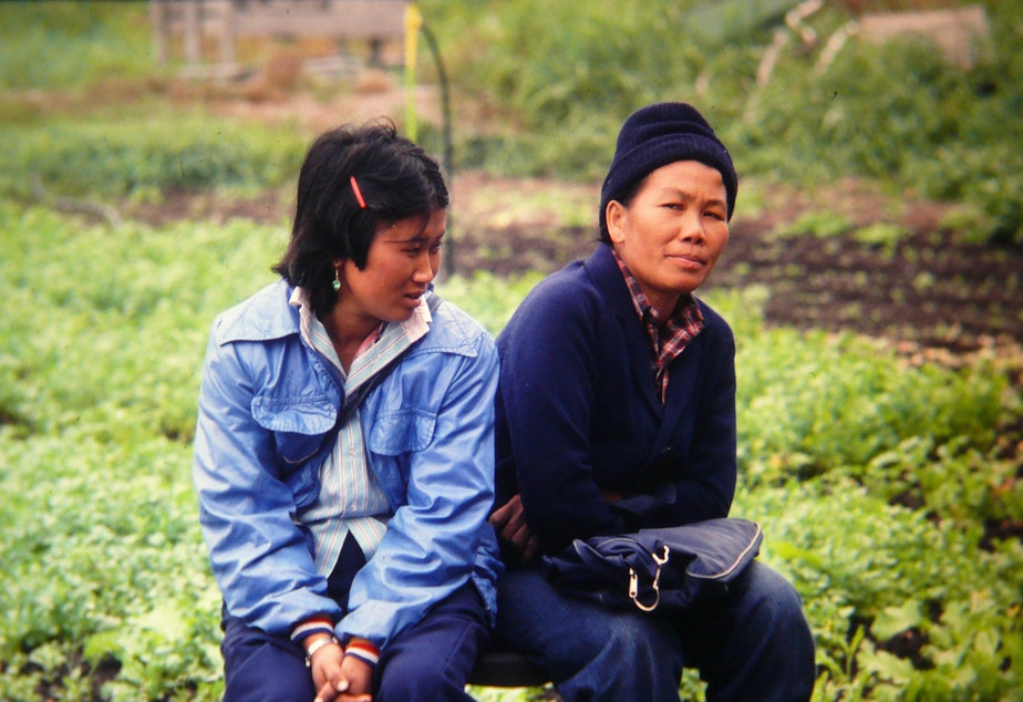 caption: Cheu Chang, right, at the Indochinese Farm Project in Woodinville in the mid-80s.