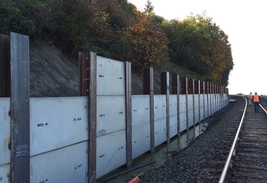 caption: Landslide retention walls being constructed along tracks near Mukilteo in 2015.