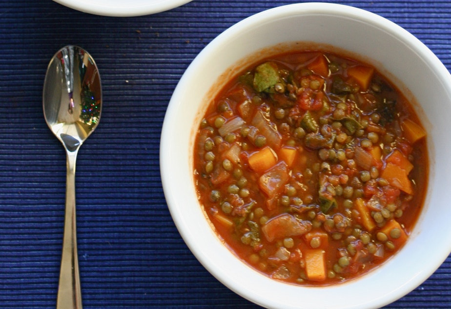 caption: Nutritionist Mary Purdy suggests lentil soup as a way to get needed protein and carbs after a workout.
