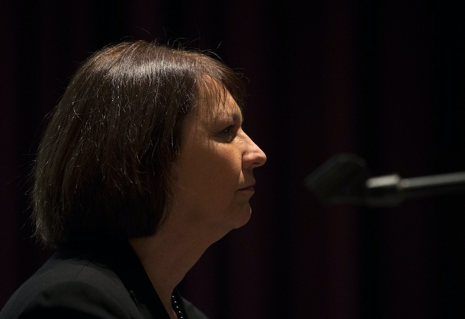caption: Seattle Public School Superintendent Denise Juneau listens during a public meeting to address concerns about abusive teachers within the Seattle Public School system on Thursday, February 13, 2020, at the Quincy Jones Performing Arts Center at Garfield High School in Seattle.