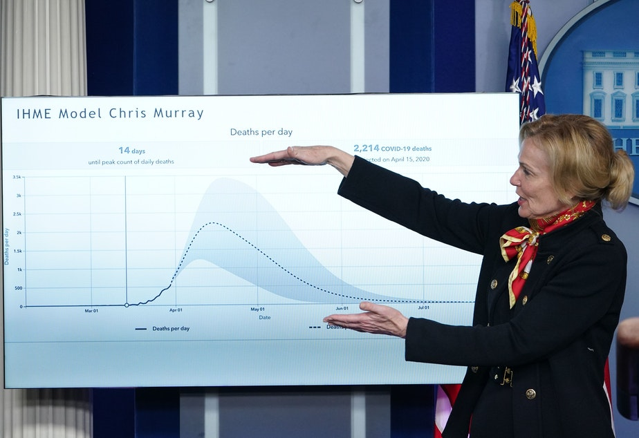 caption: Response coordinator for White House Coronavirus Task Force Dr. Deborah Birx speaks at Monday's press briefing as she points at a graphic.