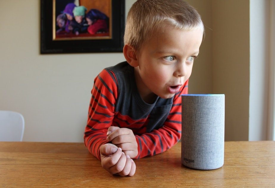 caption: Oscar Pulkkinen, 4, chats with Amazon's Alexa voice assistant through the company's Echo smart speaker.