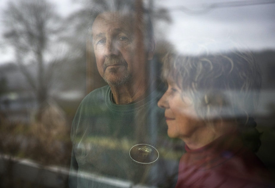 caption: Greg and Paulette Beck pose for a portrait at their home on Tuesday, January 22, 2019, on Whidbey Island.