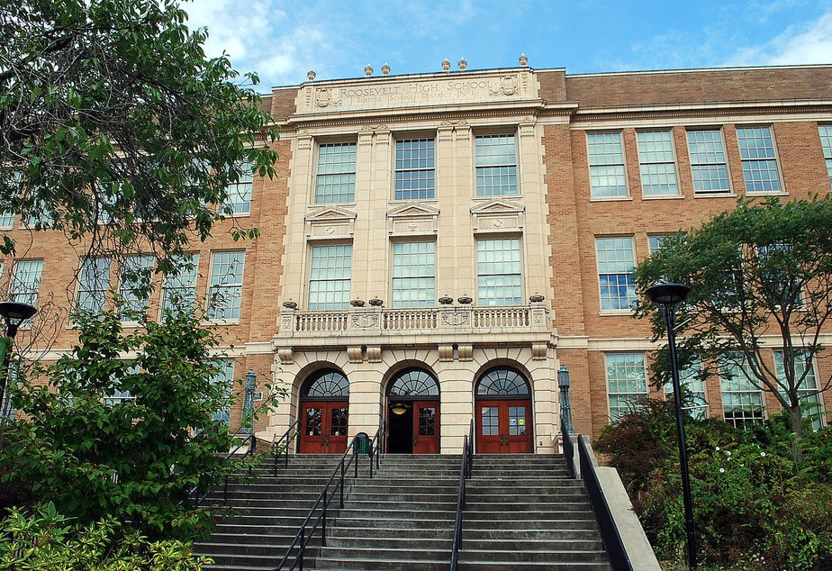 caption: Roosevelt High School in Seattle, Washington.