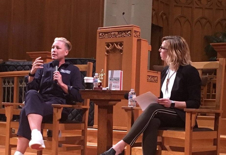 Abby Wambach and Paige Browning at the Seattle First Baptist Church