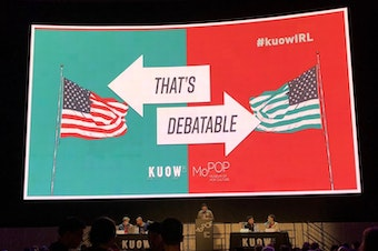 Participants at KUOW's That's Debatable at MoPop