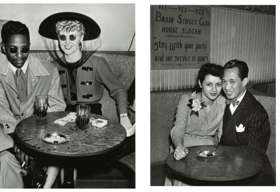 Left, an unidentified couple around 1944. Right, unidentified couple at Basin Street, around 1944. (To help us ID individuals, note the photo number. These are photos #3 and #4.)