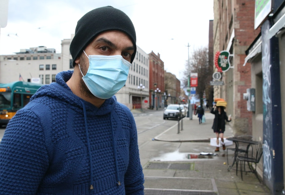 caption: Hamza Aldaban owns Main Street Gyros in Seattle