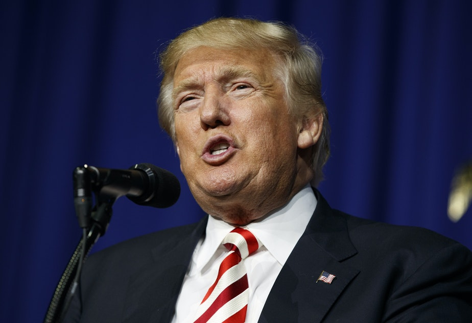 FILE: Republican presidential candidate Donald Trump speaks during a campaign rally, Thursday, Sept. 1, 2016, in Wilmington, Ohio.