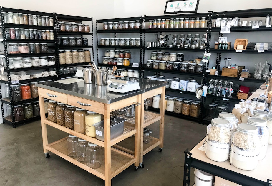 caption: A look into Scoop Marketplace, a zero-waste bulk shop in the Central Area in Seattle.