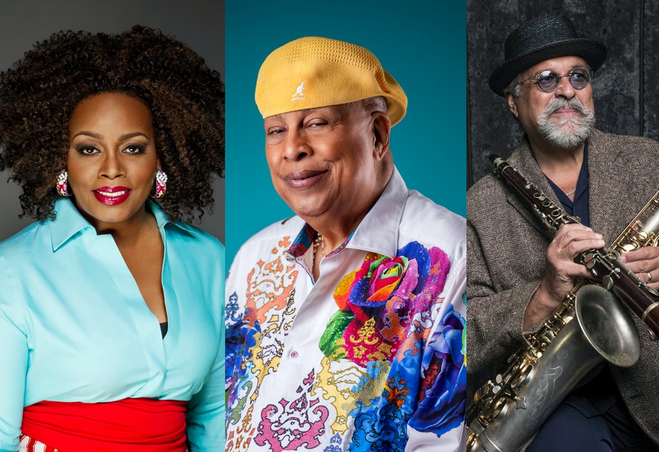 caption: Left to right: Dianne Reeves, Chucho Valdes and Joe Lovano.