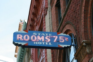 A 1960s sign from an old flophouse in Pioneer Square in Seattle.