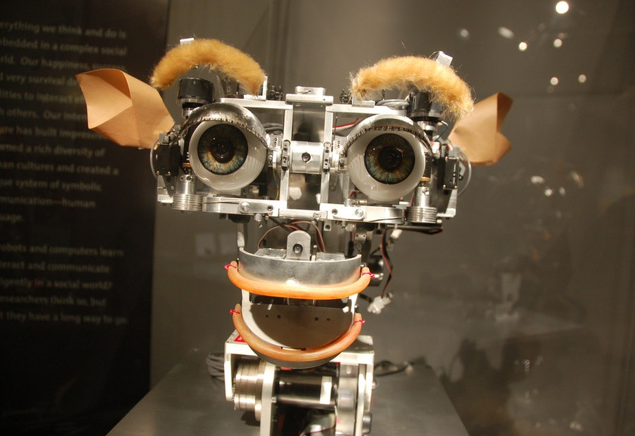 Kismet, the artificial intelligence robot at the MIT museum, can interact and smile at people.