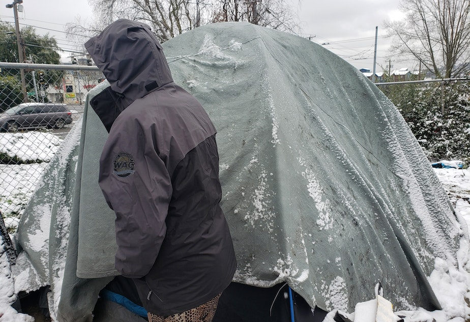 caption: Sarah Clark stands outside of her tent near I-5 in U-District as snow falls on Tuesday, January 14th, 2020.