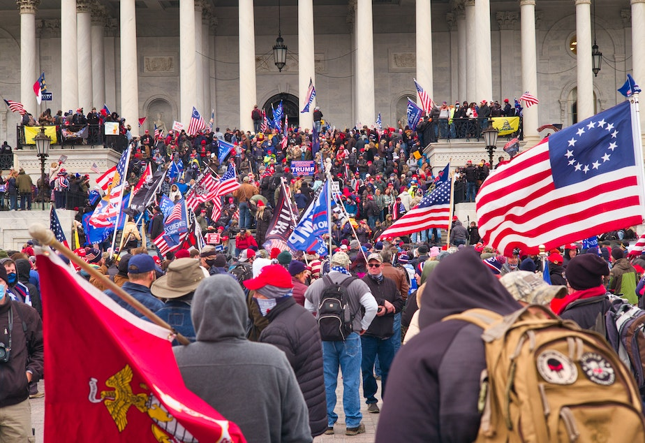 caption: A mob of Trump supporters swarming the Capitol building in D.C.