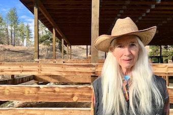 Sandy Morris on the Morris's ranch outside of Malott.
