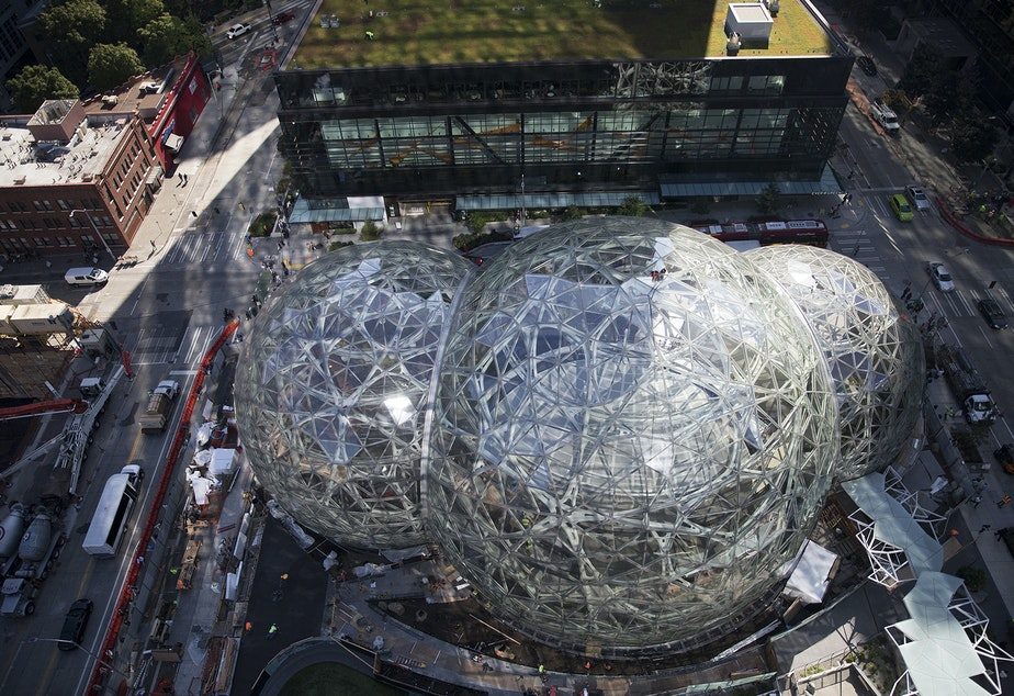 caption: Amazon's spheres are shown on Friday, September 15, 2017, in Seattle.