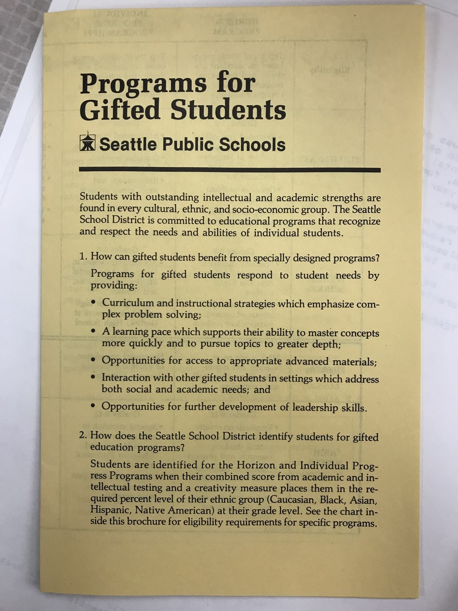 caption: A manual that explains how gifted students are selected for specialized programs within Seattle Public Schools.