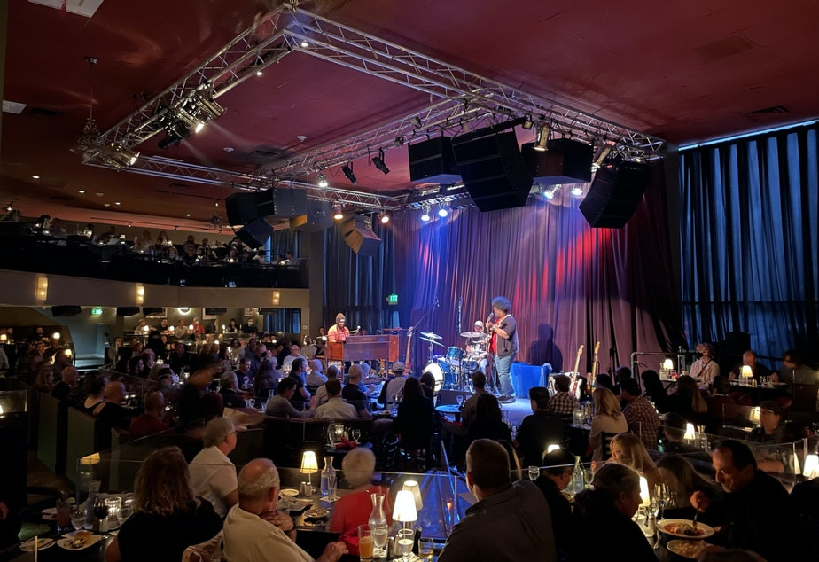 caption: The Delvon Lamarr Organ Trio plays to a packed house at Dimitrious Jazz Alley in September 2021.
