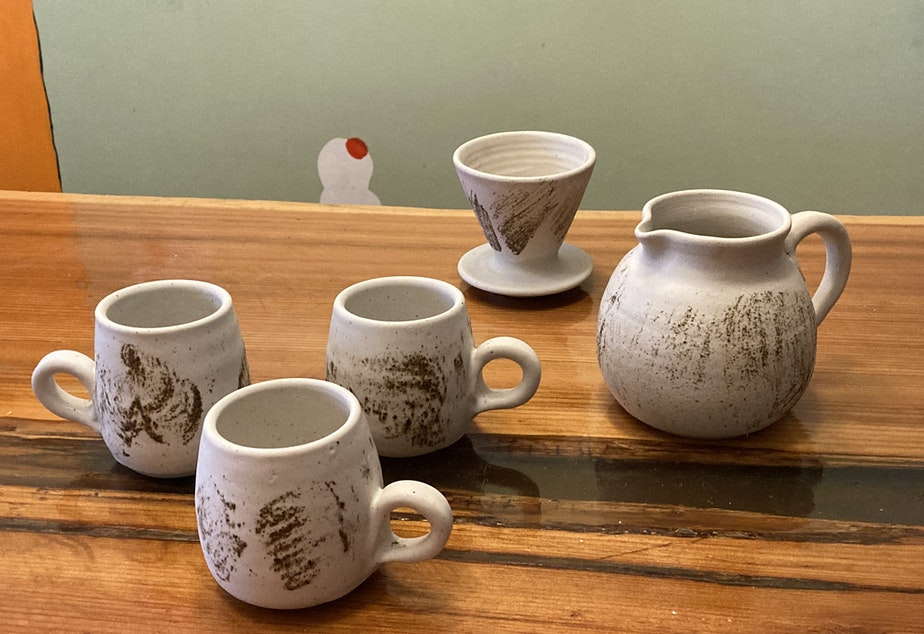 caption: Bryan Ohno's pottery