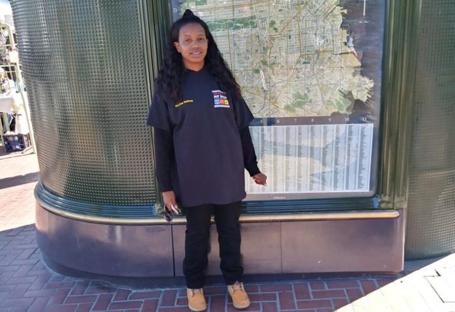 caption: Neima Hawkins is a supervisor for San Francisco's Pit Stop program.