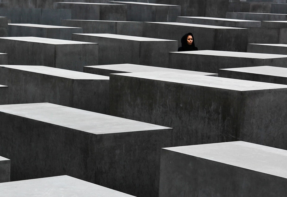 caption: The Holocaust memorial in Berlin.