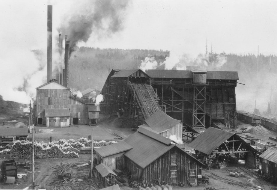 Mine #11 in Black Diamond supported a workforce of 400-500 people, underground and on the surface. This mine operated from 1896 to 1927. Photo is from 1904. Click on the photo for more images.