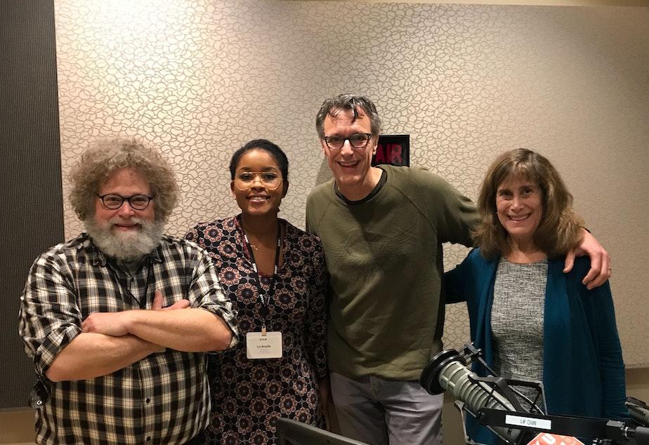 caption: Knute Berger, Liz Brazile, Bill Radke and Joni Balter
