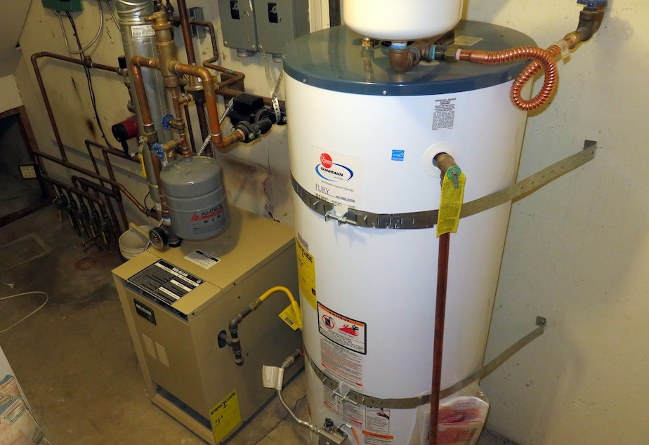 caption: Buildings account for the second biggest share of carbon pollution in Washington, after transportation, largely due to gas furnaces and water heaters such as these.