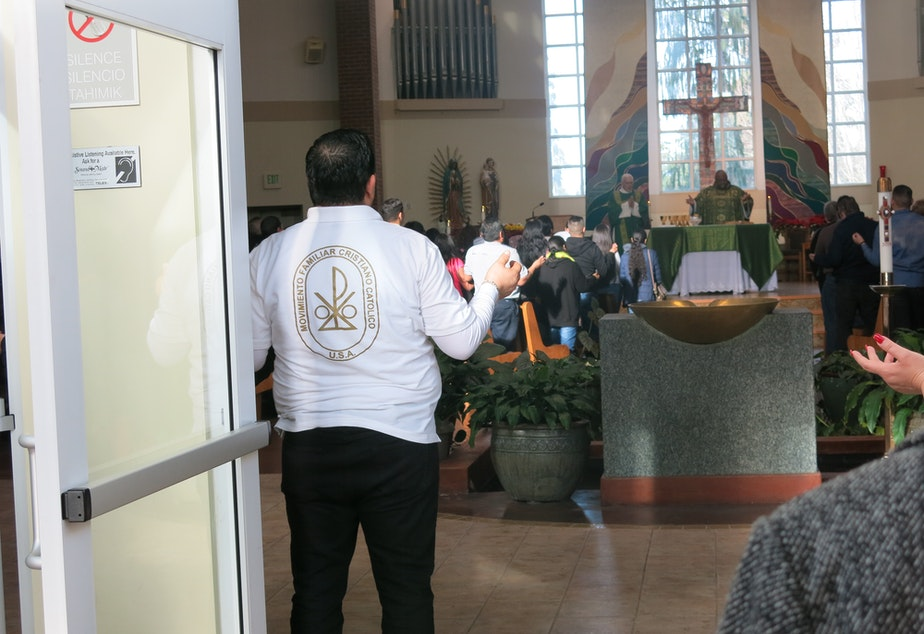caption: Outreach at a Catholic church in Lakewood, WA helped census workers reach immigrants and other people at greater risk of not being counted.