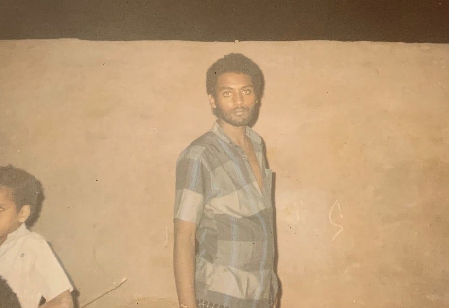 caption: Fitsum Habtemichael in Khartoum, Sudan at age 22, five years after escaping the war in Ethiopia.