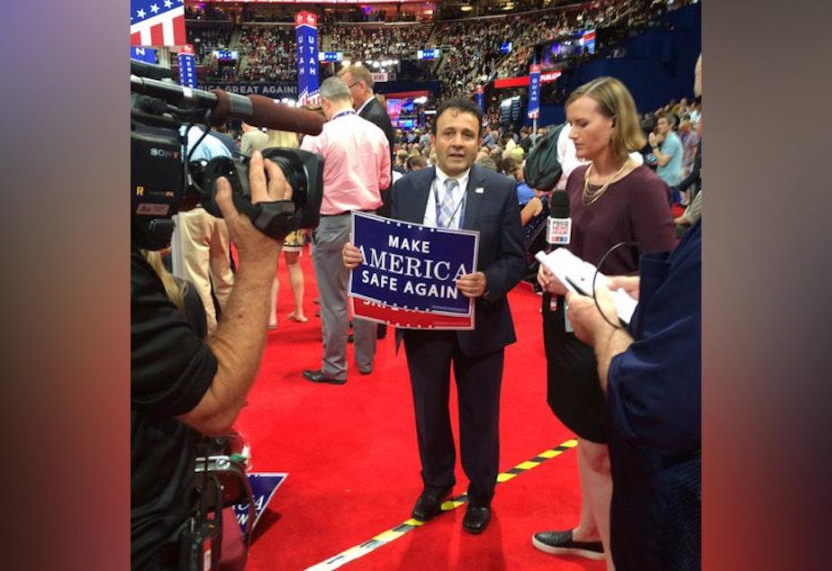caption: Washington delegate Hossein Khorram supported Donald Trump for the 2016 election.