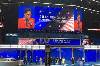 Boos from Bernie Sanders supporters drowned out U.S. Rep. Marcia Fudge, the convention chair, when she mentioned Hillary Clinton on Monday.