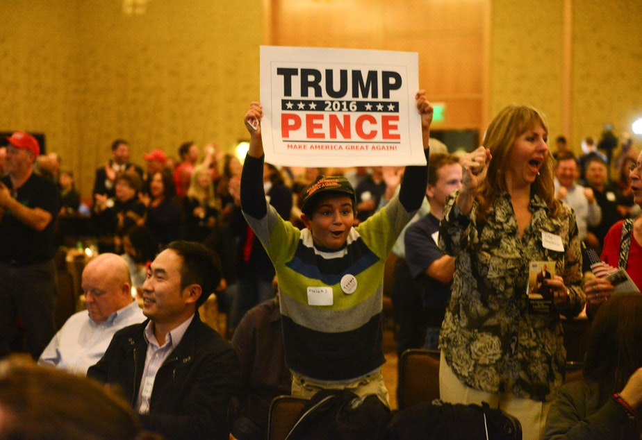 A boy cheers at the Republican watch party in Bellevue on Tuesday night, as Donald Trump clinches Florida.