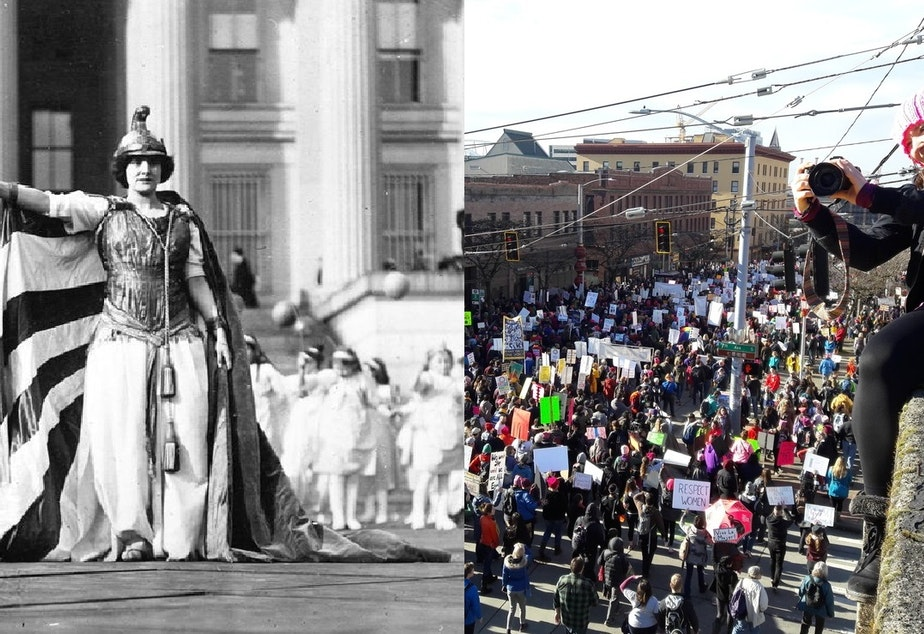 The 1913 suffrage parade in Washington, D.C., and the women's march in Seattle on Saturday.