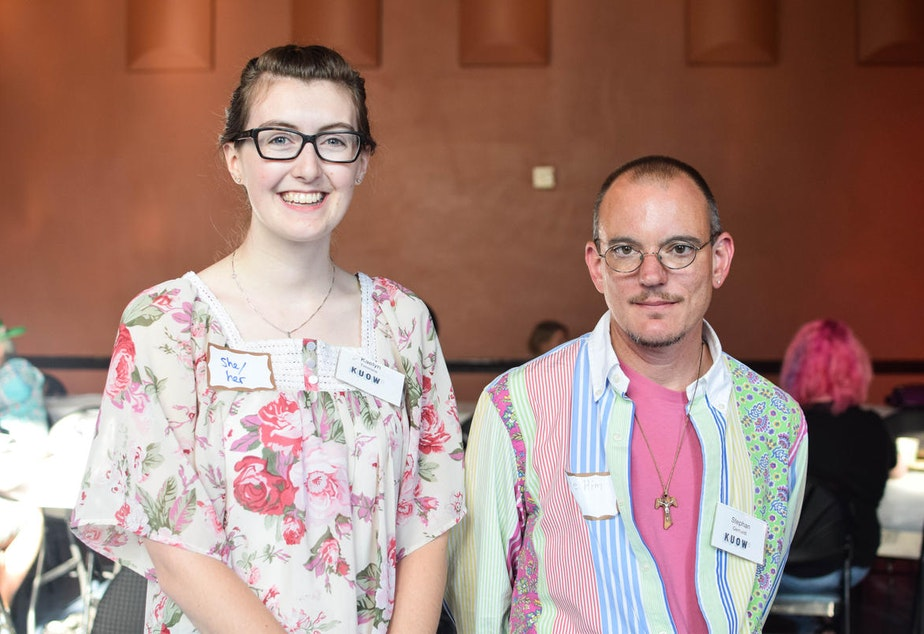 caption: Kaelyn and Stephan at KUOW's Ask a Transgender Person event