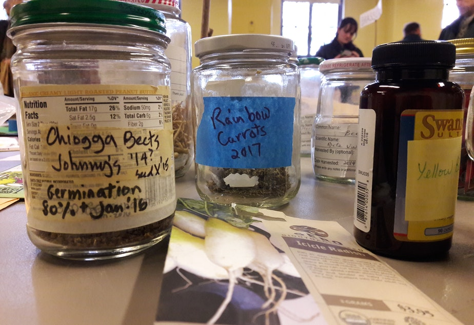 caption: Dozens of local gardeners gathered  for King County Seed Lending Library's annual seed swap at Phinney Center.