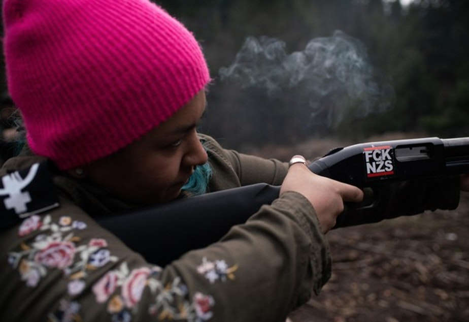 <p>Rosie Strange, a leftist activist who chose to buy a handgun for self defense, fires a friend&rsquo;s shotgun on February 2, 2019, in Hood River, Oregon.</p>